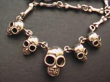 """Solid 925 Sterling Silver Skull & Bones Necklaces. 94g, 53cm - 55cm, 21""""- 21.5""""."""