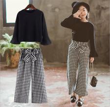 2pcs Teenage Girls Korean Fashion Suit Black Tops+Plaids Loose Pants Cotton Sets