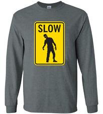 Funny T-shirt Slow Zombies Sign Men's Graphic Tee Zombie Apocalypse Tshirt