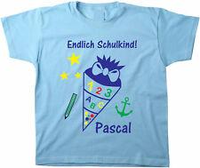 Kinder T-Shirt Einschulung Schulkind Schultüte mit Name mit Flockdruck