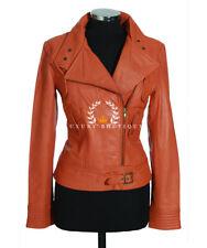 Tara Orange Ladies Womens Retro Casual Designer Real Lambskin Leather Jacket