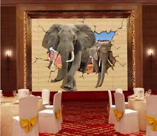 3D Éléphant Marche Photo Papier Peint en Autocollant Murale Plafond Chambre Art
