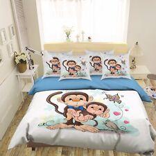 3D Hand Drawn Monkey 512 Bed Pillowcases Quilt Duvet Cover Set Single Queen CA