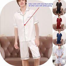 Herren 22 Momme 100% Seide Pyjama Set Shorts & Kurzarm Oberteile Nachtwäsche