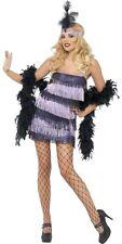 Womens Purple/Black Flapper Costume Fancy Dress 20s Feather Headband Adult NEW
