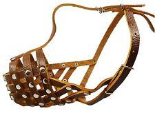 "Amstaff Pitbull Secure Genuine Leather Basket Dog Muzzle 12""-3.5"" snout size"