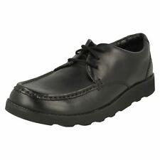Clarks Corona Tate Cuero Negro Niños Grandes Zapatos de Escuela con Cordones