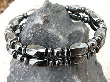 Mens Womens Black 100% Magnetic Hematite Healing Bracelet Anklet 2 Row 15mm WIDE