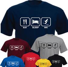 Eat Sleep Ski New Funny T-shirt Present Gift