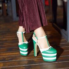 Womens Leather High Heel Platform Slingbacks T Strap Buckle Clubwear Shoes Sz 9