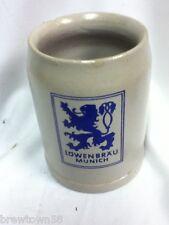 Lowenbrau beer glass ceramic mug stein vintage German collectible bar pub JI4