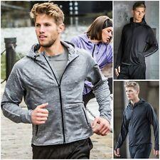 Men Full Zip Running Jacket Hood Thumb Holes Reflective Top Light Breathable