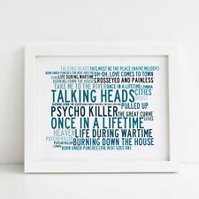 Talking Heads Poster, Greatest Hits, Framed Original Art, Album Lyrics Print