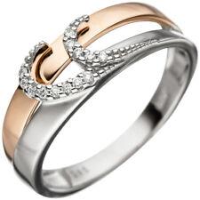 Goldring bicolor 13 Diamanten Brillanten 585 Weißgold Rotgold Damen Ring 46591