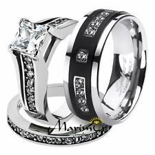 His & Hers Stainless Steel Princess Bridal Ring Set & Mens Titanium Wedding Band