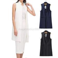 Ladies Women Sleeveless Blazer Waistcoat Mini Stand Collar Casual Long Jacket