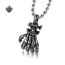 Silver Hand Skeleton Skull Pendant STAINLESS STEEL NECKLACE