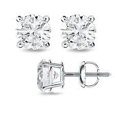Round H/I VS2-SI1 Genuine Enhanced Diamond Solid Gold Stud Earrings