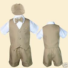 New Baby Boy & Toddler Eton Formal Vest shorts Suit New born to 4T Khaki