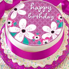 HAPPY BIRTHDAY PINK FLOWER 7.5 INCH PRECUT EDIBLE CAKE TOPPER DECORATION