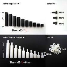 25/50/100pcs Plastic Nylon M3 Hex Column Standoff Support Spacer Screw Nut