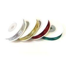 Berisfords Round Lurex Elastic 1.2mm 5 10 & 20m Silver Gold Red Green