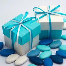 White Silk & Celeste Blue Square Boxes & Lid Luxury Wedding Favour Party Boxes