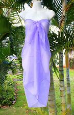 Sheer Sarong SOLID PURPLE Beach Cover-up Hawaii Vacation Wrap Skirt Dress Pareo