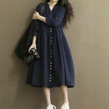 Women Linen Dress Loose Pleated V Neck Button Long Sleeve Plain Vintage Casual