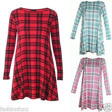 Womens Tartan Print Long Sleeve Swing Dress Ladies Skater Check Flared Top 8-16