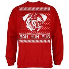 Christmas Bah Hum Pug Red Adult Sweatshirt