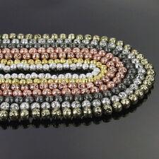 """Metallic Titanium Coated Lava Gemstones Round Beads 15.5"""" 6mm 8mm 10mm 12mm DIY"""