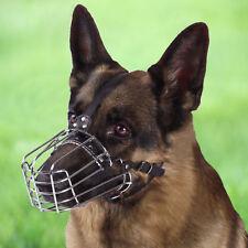 Dog Muzzle Metal German Shepherd Wire Basket Medium Large Adjustable Leather