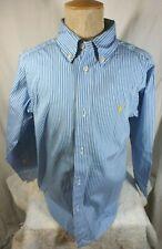 Boy's Ralph Lauren Blue w/White Stripes Long Sleeve Shirt, 2 Sz Avlble (6,8-10)