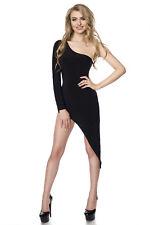 Gogo-Kleid schwarz Mini Abendkleid hoher Beinausschnitt elastisch XS S M L XL