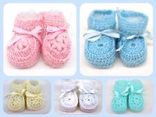 Crochet Booties Ribbon Baby Newborn Pink White Blue Unisex Size 0-3 Months Crib