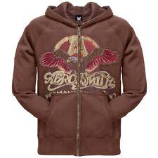 Aerosmith - Eagle Logo Premium Zip Mens Hoodie Sweatshirt Brown