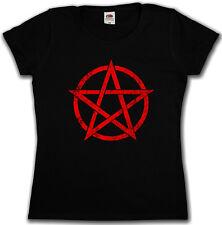RED PENTAGRAM SIGN WOMAN SHIRT - Aleister Crowley Pentagramm Satanic Circle 666