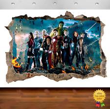 Marvel Avengers Hulk Iron Man 3d Smashed Wall View Sticker Poster Vinyl 667