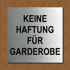 Schild Türschild Edelstahl Design Piktogramm - Keine Haftung für Garderobe