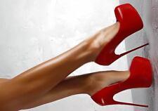 decolte stiletto 16 cm eleganti rosso plateau cinturino simil pelle 9763