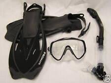 Snorkeling Scuba Dive Gear Mask Dry Snorkel Fins Sets L