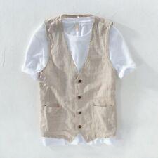 Men's Linen Striped Gilet Sleeveless Jacket Suit Top Vest Waistcoat Casual YM0