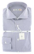 New $600 Luigi Borrelli Black Check Shirt - Extra Slim - (70LB4064)