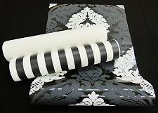 """3139-) Vliestapete """"Bling Bling"""" starkes Ornament mit Glitzereffekt schwarz weiß"""