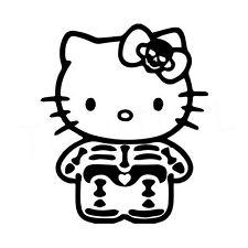"""5"""" Hello Kitty SQUELETTE Autocollant Vinyle Autocollant Voiture Fenêtre Ordinateur Portable Os anatomie"""