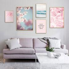 Pink Ocean Cherry Flower Wall Art Poster Nordic Canvas Print Modern Home Decor