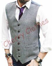 Homme Mélange Laine Tweed noir & blanc gris chevrons gilet gilet M L XL XXL