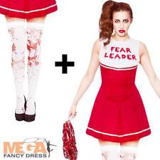 Zombie Fear Cheerleader + Stockings Ladies Fancy Dress Halloween Womens Costume