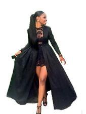 Fashion Womens Black 2 Pieces Lace Skirt Long Coat Evening Party Dress Clubwear